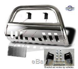 2007-2014 GMC Sierra 2500 3500 chrome Push Bull Bar in Stainless Steel Bumper