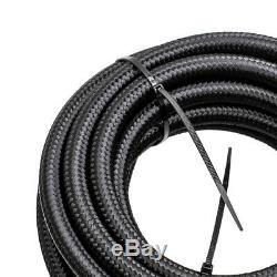 20Feet 6AN Stainless Steel Braided Fuel Line + 10PCS Push Lock Fitting Hose Kit