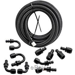 20Feet 6AN Stainless Steel Braided Fuel Line +Push Lock Hose End AN6 Kits