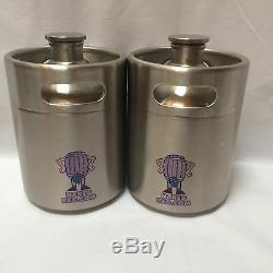 2L Mini Keg Beer Growler Stainless Steel barrel screw top party tap gas push