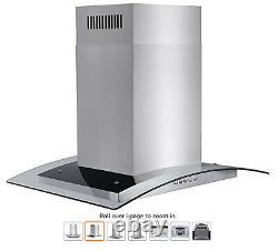 30 Island Mount Stainless Steel Tempered Glass Push Panel Kitchen Range Hood