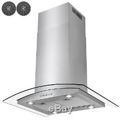 30 Island Mount Stainless Steel Tempered Glass Push Panel Kitchen Range Hood