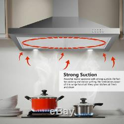 30 Stainless Steel Push Control Wall Mount Range Hood Vent Fan with Led Light