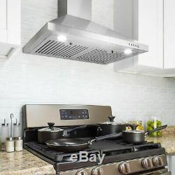 30 Stainless Steel Push Panel Control 3 Speed Wall Mount Range Hood