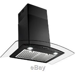 30 Wall Mount Black Painted Finish Stainless Steel Push Button Range Hood Vent