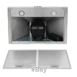 30 Wall Mount Stainless Steel Kitchen Range Hood Push Button LED Super Quiet