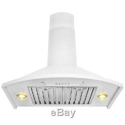 30 Wall Mount Stainless Steel Range Hood White Painted Push Button Kitchen