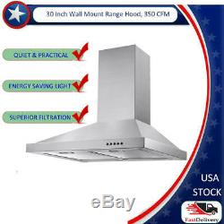 30-in Wall-Mount Range Hood 350-CFM Push Control Over Stove Vent with LED Light