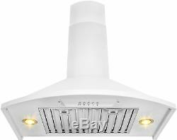 30 in White Wall Mount Stainless Steel Range Hood Push Button Panel Kitchen Vent