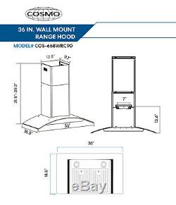 36 In. Ducted Wall Mount Range Hood In Stainless Steel With Push Button Controls