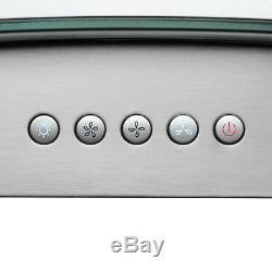 36 Stainless Steel Island Mount Range Hood Tempered Glass Push Button Control
