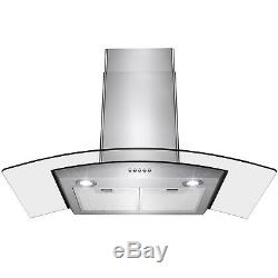 36 Stainless Steel Wall Mount Push Buttons Range Hood With LED Light Lamp