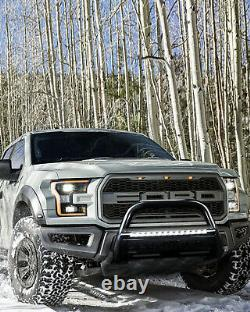 3 Bull Bar Push Bumper Grille for 2004-2020 Ford F-150 with LED Light Bar Black