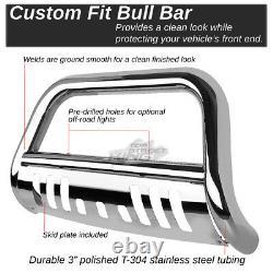 3 Polish Bull Bar Push Bumper Grille Guard Plate for Dodge Dakota Durango 97-04