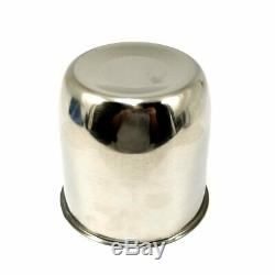 4x Gorilla Stainless Steel 3.19 OD Closed-End Push-Thru Wheel Center Hub Caps