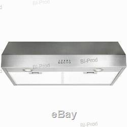 600CFM Airflow 30 Under Cabinet Kitchen Range Hood Stainless Steel Push Button