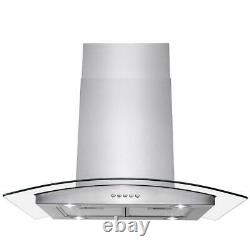 AKDY 30 Stainless Steel Island Mount Range Hood Tempered Glass Push Button