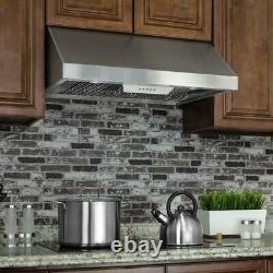 AKDY 36'' Under Cabinet Range Hood in Stainless Steel with LEDs & Electronic Push