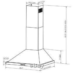 AKDY 36' Wall Mount Stainless Steel Push Panel Kitchen Range Hood Cooking Fan