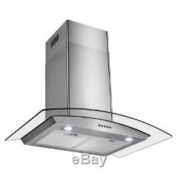 AKDY Wall Mount Range Hood 30 in. 400 CFM Stainless Steel LEDs Push Control