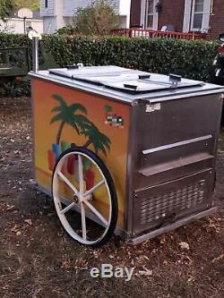 All Stainless Steel 2009 Worksman 2.5' x 4' Italian Ice Vending Push Cart for Sa
