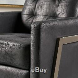 Baron Modern Tufted Microfiber Push Back Recliner with Stainless Steel Legs