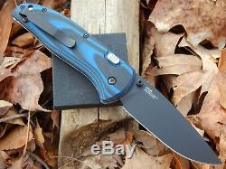Benchmade APB 665BK 154CM Drop Point Blue/Black G-10 Handle Push Button Lock USA