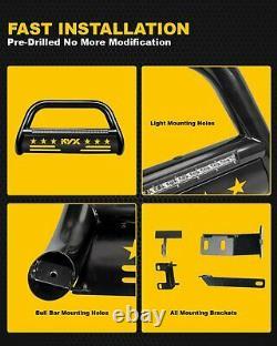 Black 3 Bull Bar Brush Push Front Bumper Grill Guard For 05-15 Toyota Tacoma