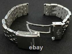 Breitling 20mm/22mm Stainless Steel Deployment Solid Strap, Push Button Buckle