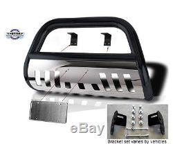 Bull Bar 1998-2004 Chevy S10 Chrome Push bumper guard in black stainless steel
