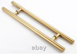 CBW 48 Inch Round Bar/H-Shape Stainless Steel Push Pull Door Handle for Solid Wo