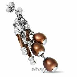 Charriol Pearl Stainless Steel and Bronze PVD Brown Pearls Dangle Push Back E