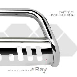 Chrome 3 Front Bumper Bull/Push Bar Brush Grille Guard for 97-04 Dakota/Durango