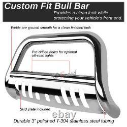 Chrome Bull Bar Bumper Grille Push Guard+skid Plate For 14-15 Silverado Sierra