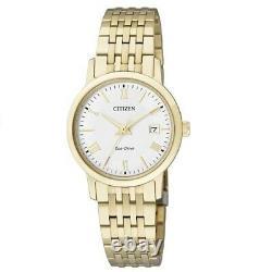 Citizen Eco-Drive EW1582-54A White Dial Gold Solar Womens Analog Dress Watch