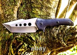 Clip Point Knife Fixed Blade Hunting Tactical Combat Titanium Plated G10 Handle