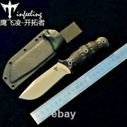 Drop Point Knife Fixed Blade Hunting Combat Tactical Jungle Wild Kydex Sheath 4