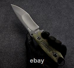 Drop Point Knife Fixed Blade Hunting Wild Combat Tactical DC53 Steel Flax Handle