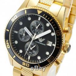 EMPORIO ARMANI AR5857 Mens Watch Gold Black Stainless Steel AR5857