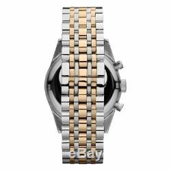 Emporio Armani AR6116 Sportivo Silver Gold Dial Men's Watch 43 mm