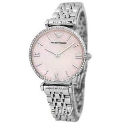 Emporio Armani Ar1779 Mother Of Pearl Silver/pink Womens Watch New With Tags