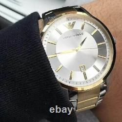 Emporio Armani Ar2449 Silver/gold Two-tone Mens Watch New With Tags