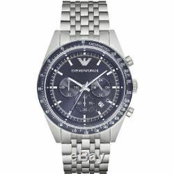 Emporio Armani Sportivo Blue Dial Silver 46mm Chrono S/Steel Men's Watch AR6072