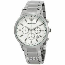 Emporio Armani Sportivo Silver Tone White Dial Chronograph Men's Watch AR2458