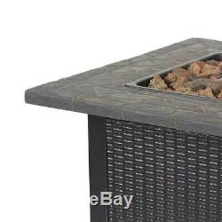 Endless Summer Decorative Push Button Outdoor LP Gas Fire Pit + Rocks (Used)