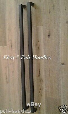 Entry Door Pull Handle push Square Long stainless steel Black Entrance Glass