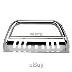 Fit 07-14 Chevy Suburban/Tahoe/Escalade Chrome Bull Bar Push Bumper Grille Guard