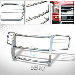 Fit 15-17 Ford F150 Chrome Heavy-Duty Brush Push Bumper Grill Griile Guard Cover