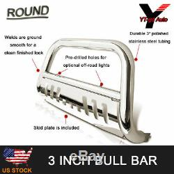 Fit 2016-2019 TOYOTA TACOMA CHROME BULL BAR WithSKID PLATE BRUSH PUSH GRILLE GUARD