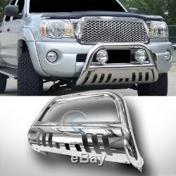 Fits 05-18 Nissan Frontier/Xterra Chrome Bull Bar Brush Push Bumper Grille Guard
